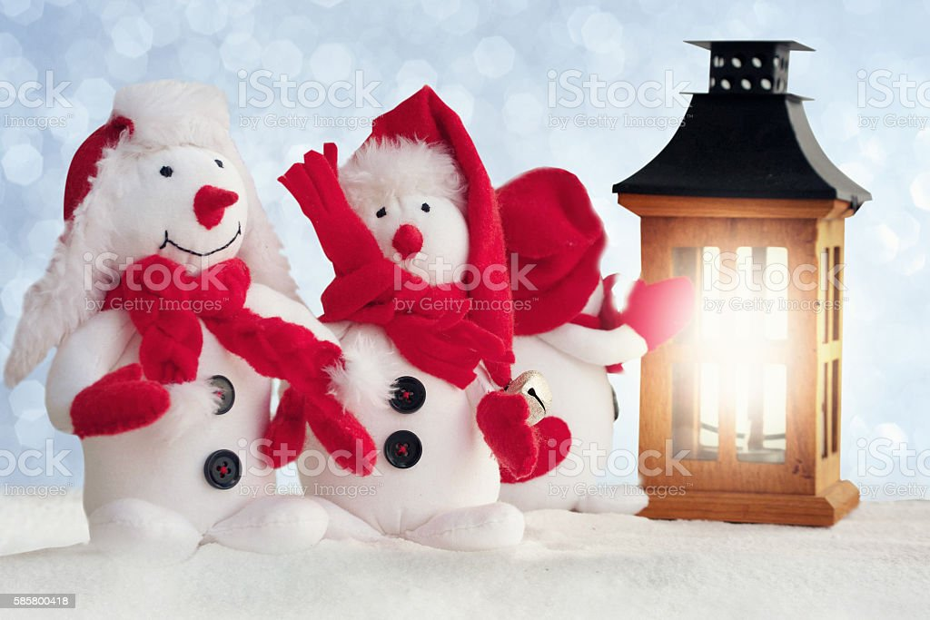 Christmas decoration -snowmans with snow stock photo