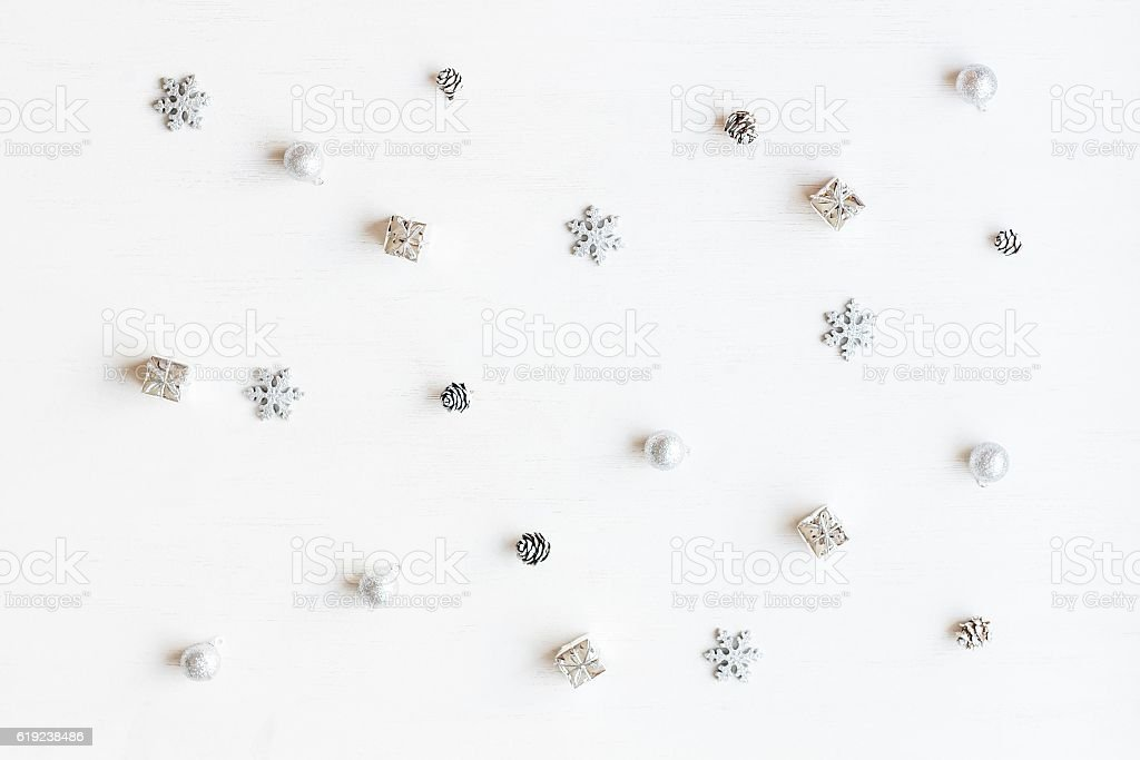 Christmas decoration. Top view, flat lay stock photo