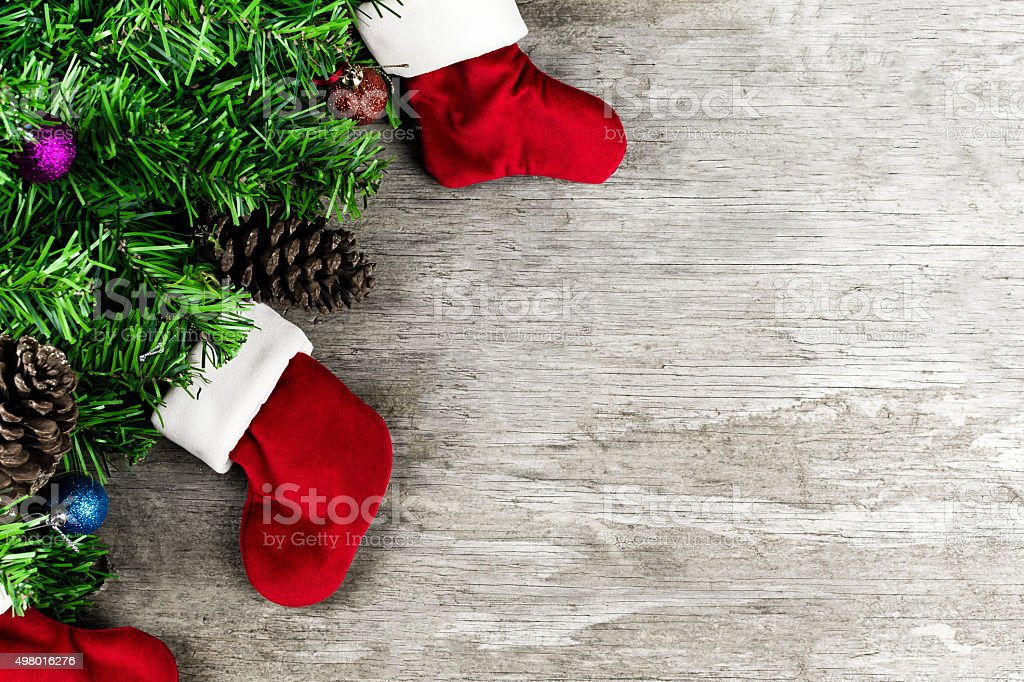 Christmas Decoration Tree, Santa's Boots, Christmas Background stock photo
