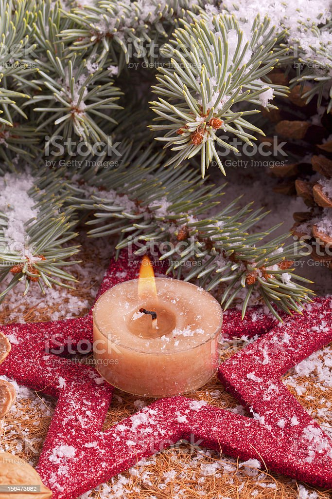 christmas decoration with advent candle royalty-free stock photo