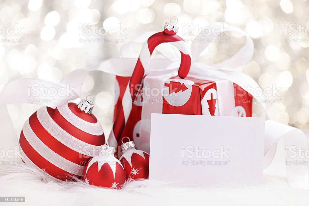Christmas decoration with an empty card royalty-free stock photo