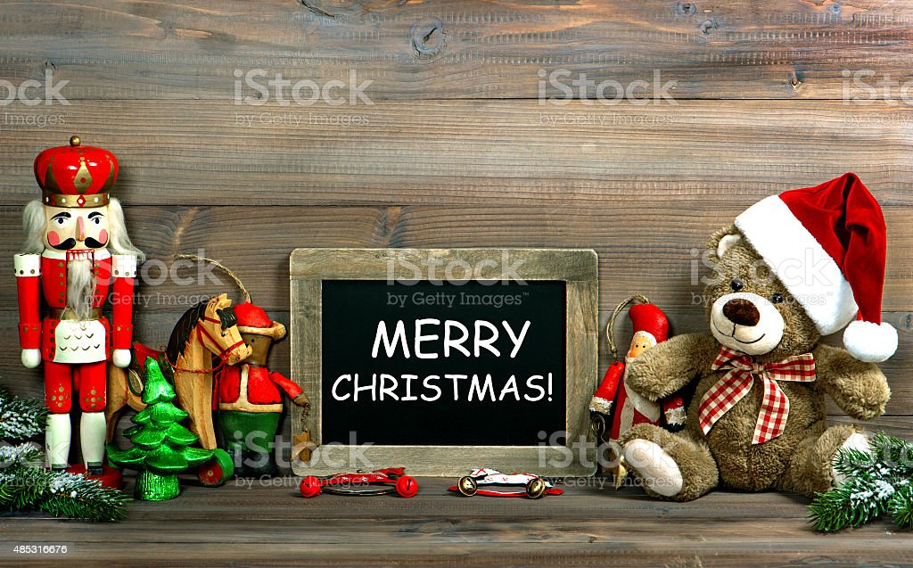 Christmas decoration with antique toys and blackboard stock photo