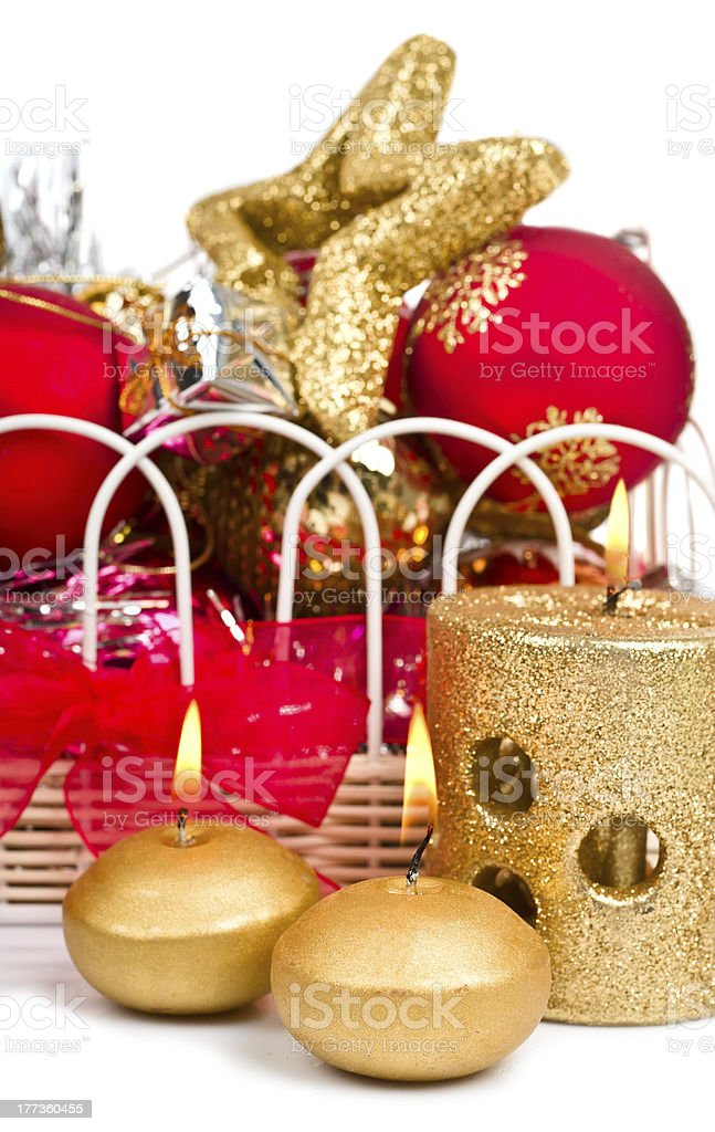 Christmas decoration with candle royalty-free stock photo