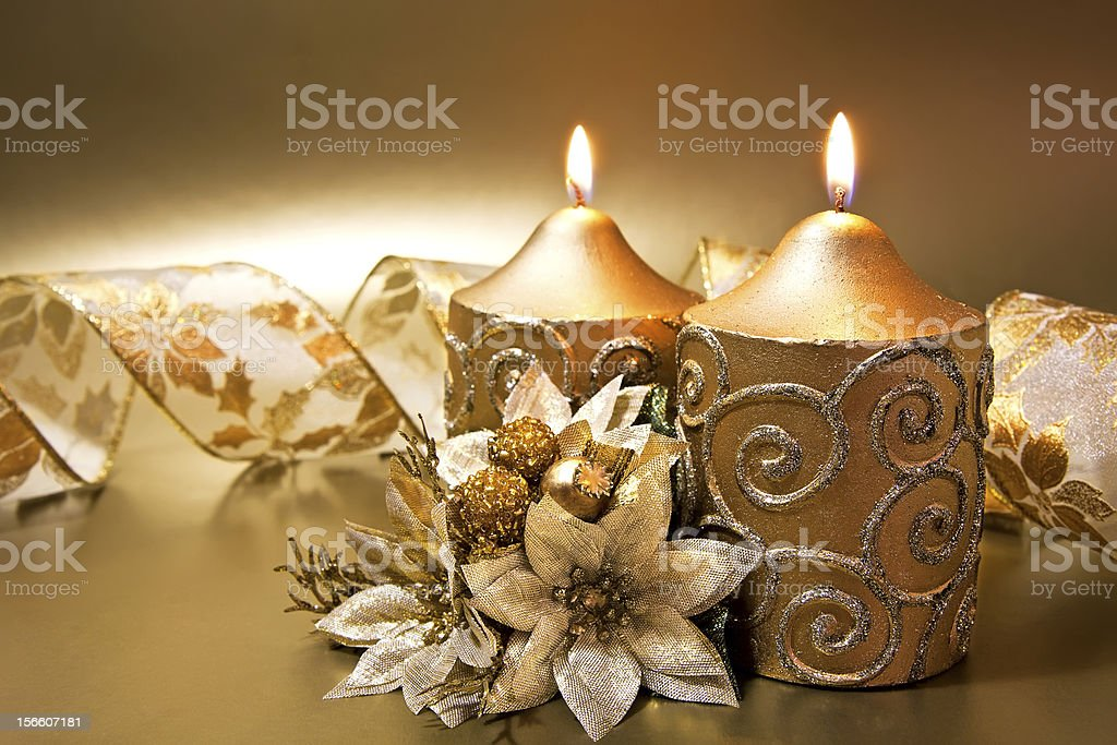 Christmas decoration with candles and ribbon royalty-free stock photo