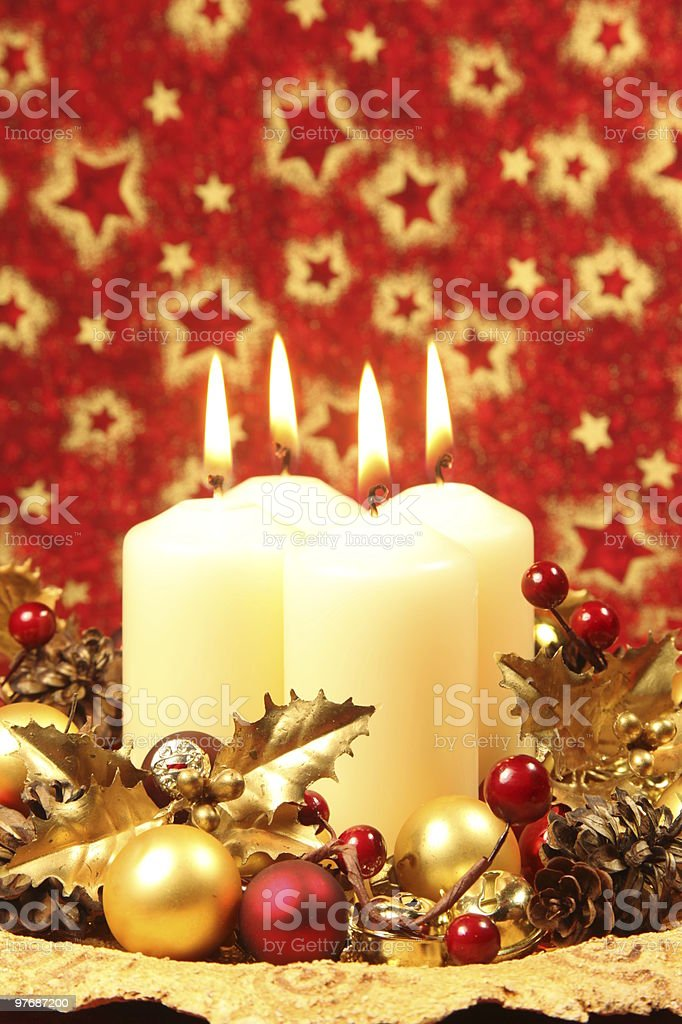 Christmas decoration with candles royalty-free stock photo