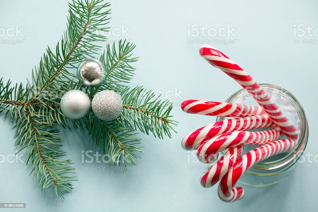 Christmas decoration with candy canes with spruce. Above. stock photo