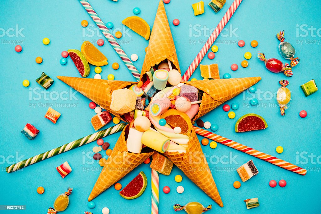Christmas decoration with candy, marshmellows, lollipops and mints stock photo