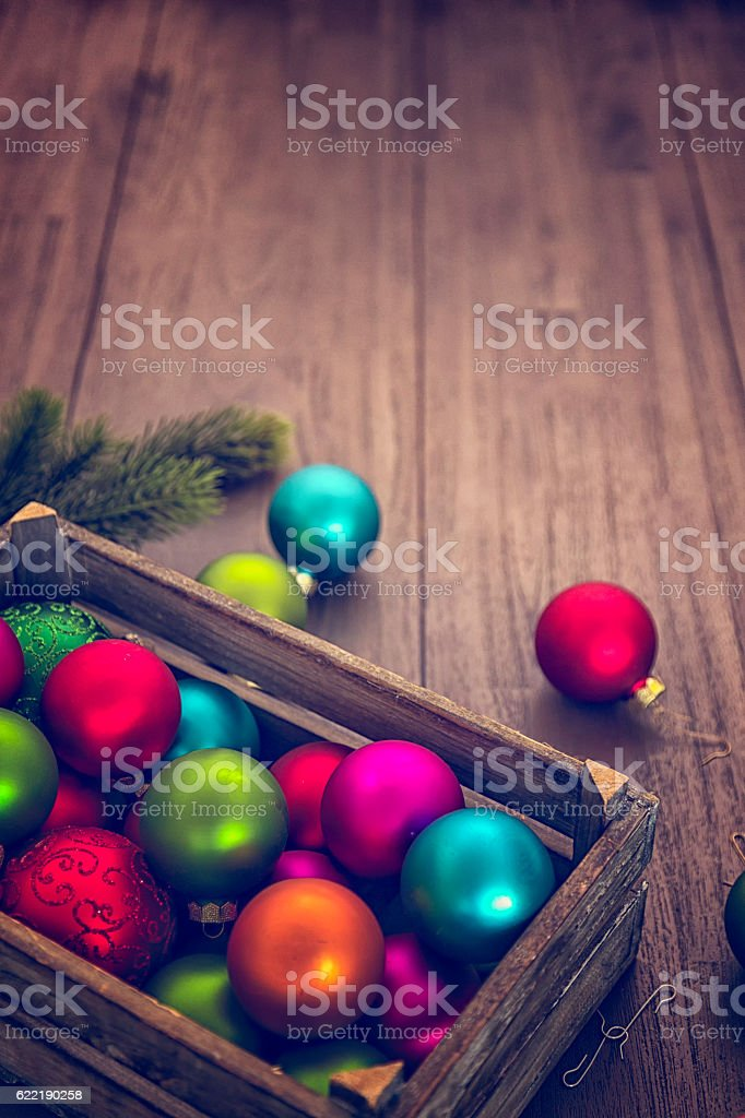 Christmas Decoration with Colourful Ornaments stock photo
