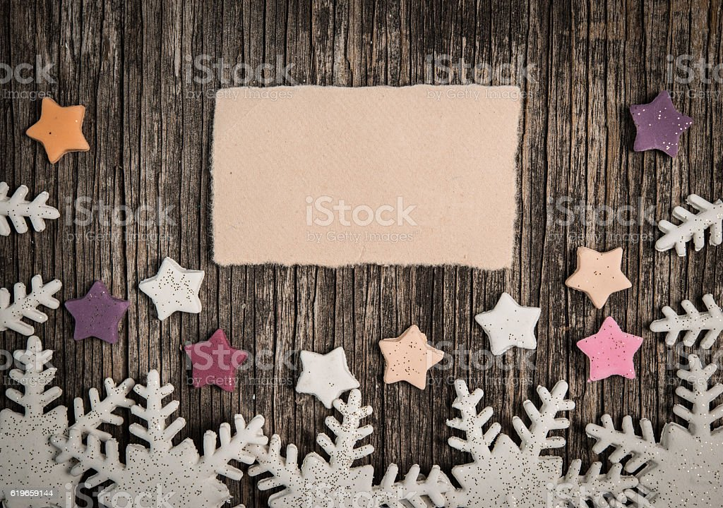 Christmas decoration with empty note stock photo