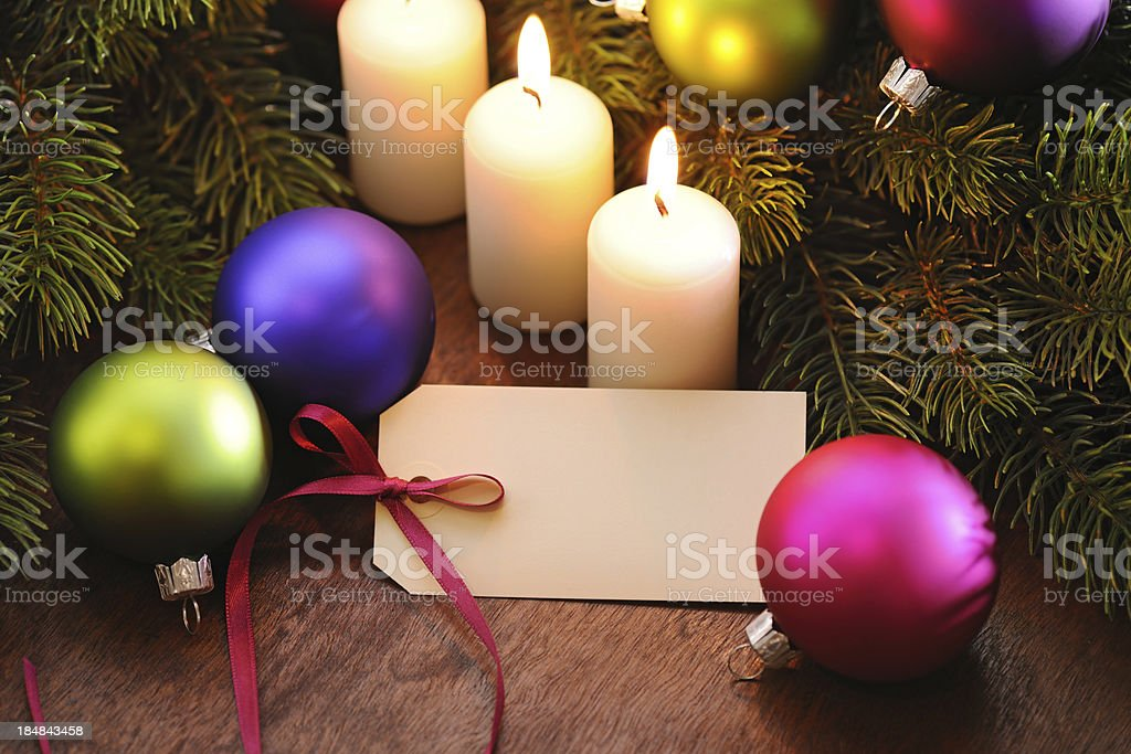 Christmas decoration with empty tag royalty-free stock photo