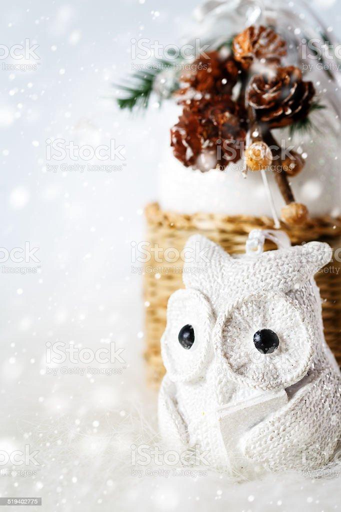 Christmas decoration with fairy white owl stock photo
