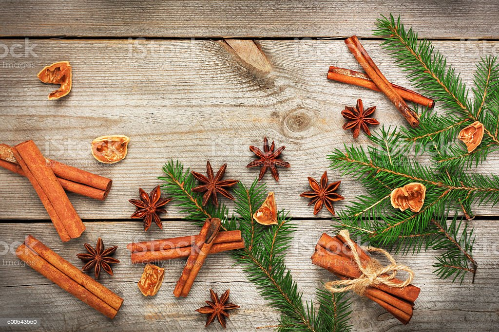 Christmas decoration with fir tree and spices stock photo