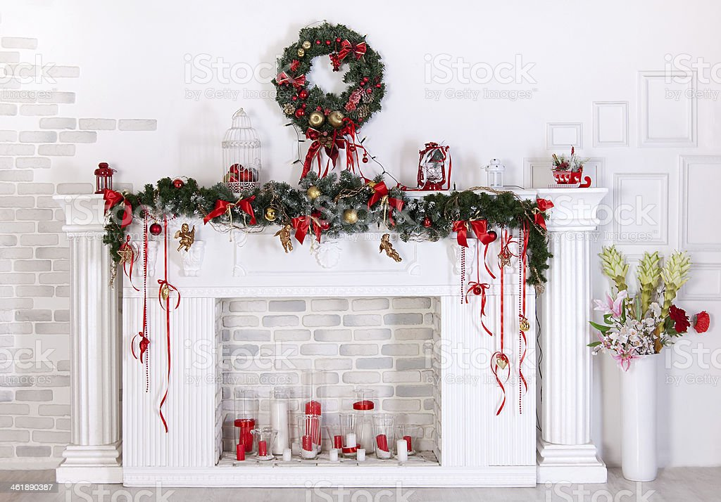 Christmas decoration with fireplace stock photo
