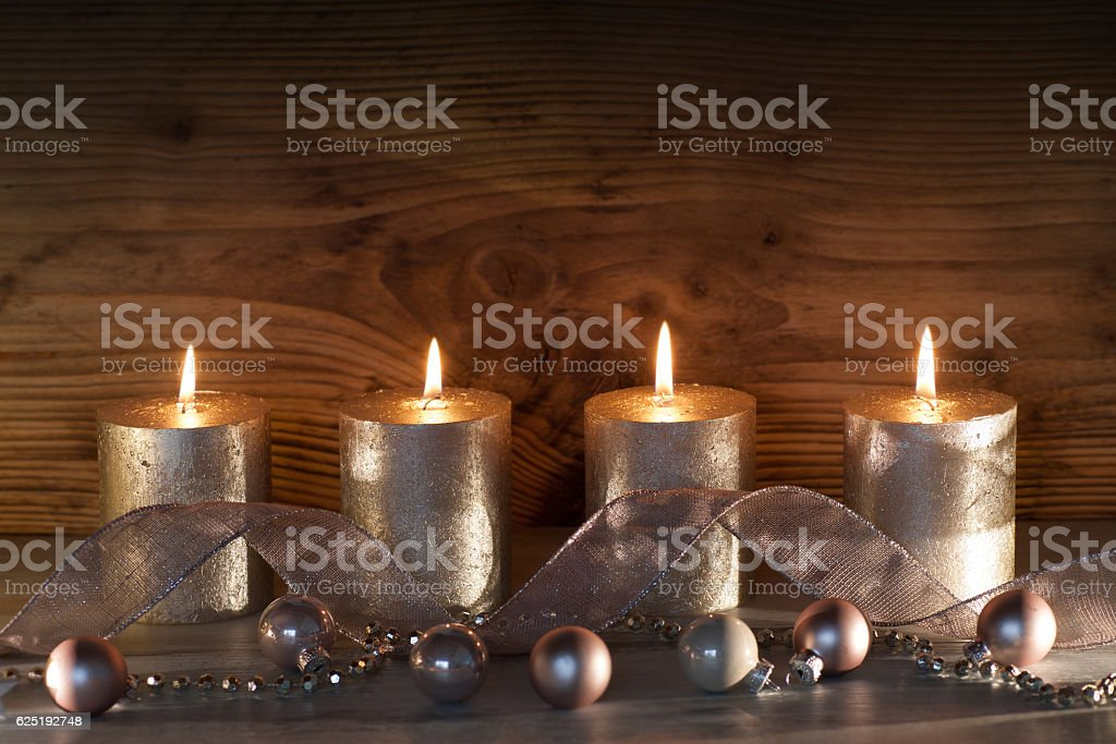Christmas decoration with four candles stock photo