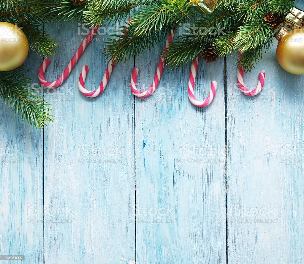 Christmas decoration with fur and baubles stock photo