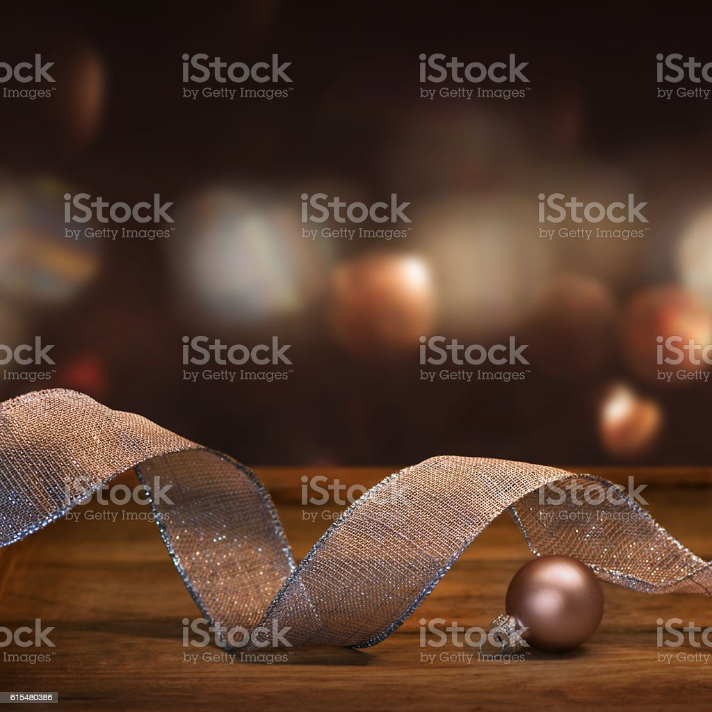 Christmas decoration with gift ribbon stock photo