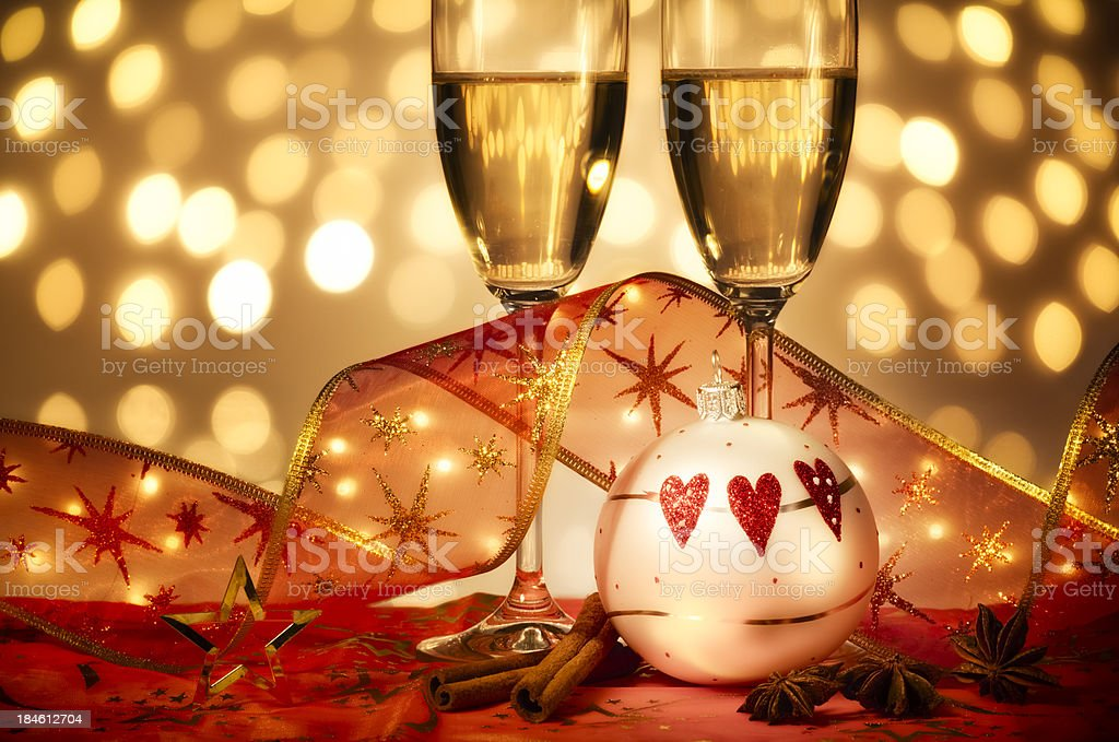 Christmas decoration with glasses of champagne stock photo