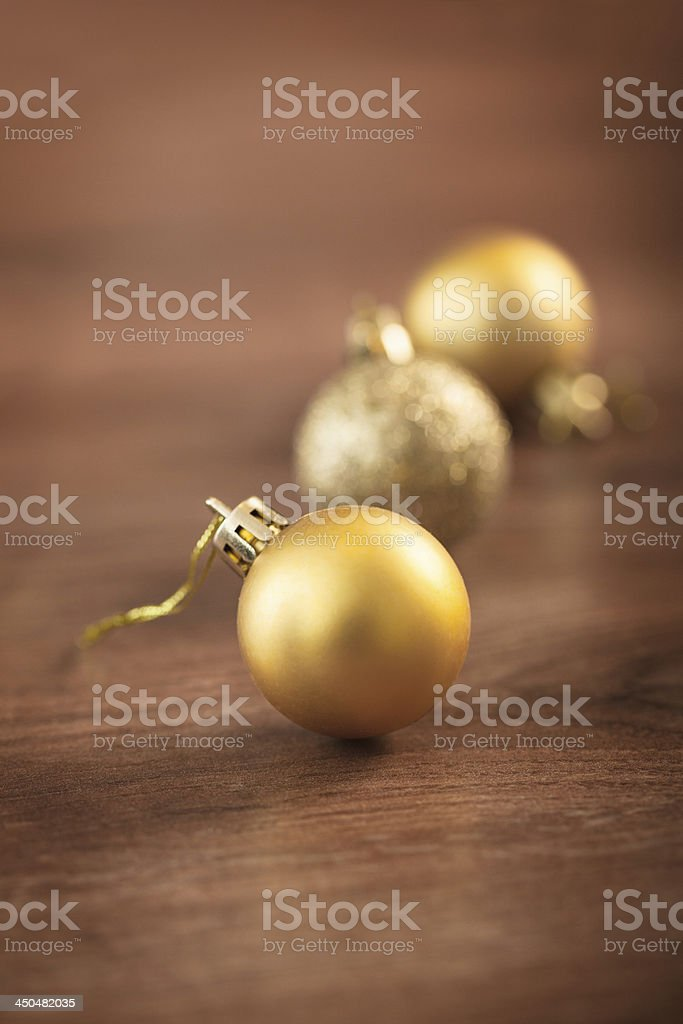 Christmas decoration with golden baubles royalty-free stock photo