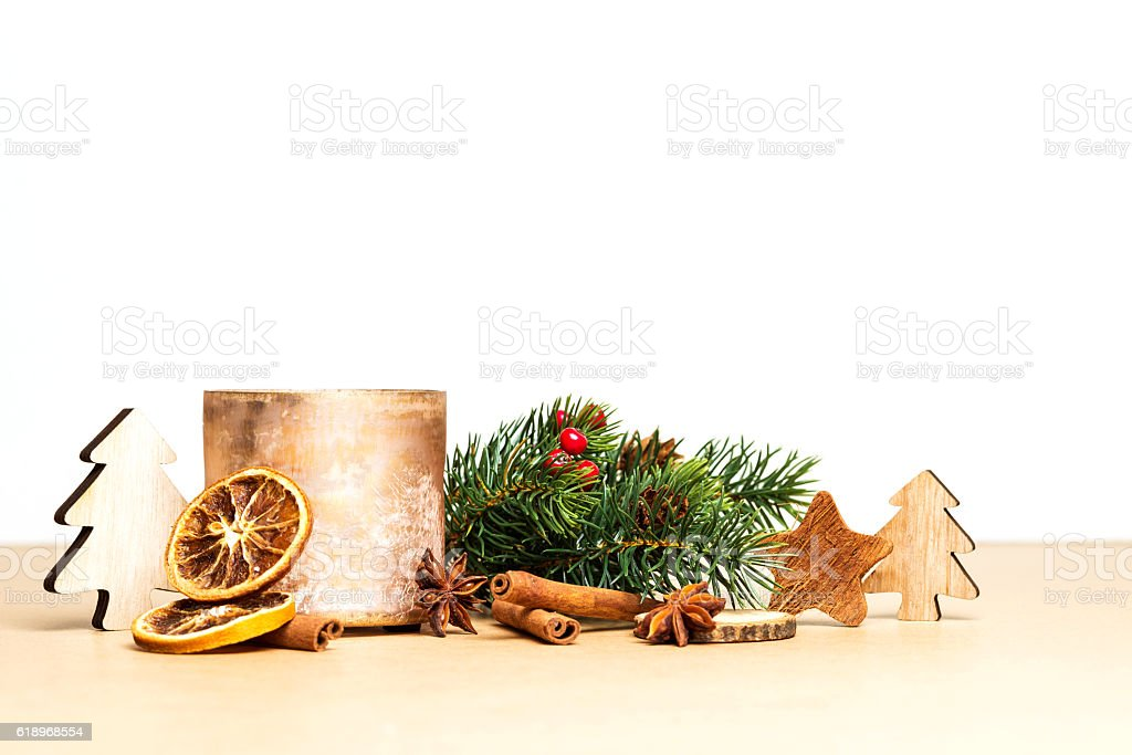 Christmas decoration with golden tea-light holder stock photo