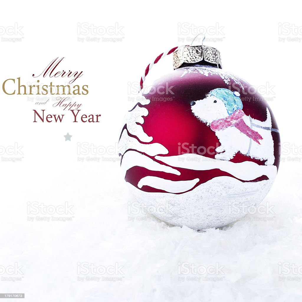 Christmas Decoration with  Handmade red ball painted royalty-free stock photo