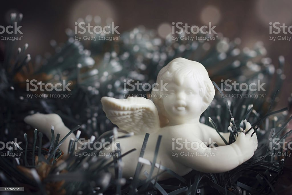 Christmas decoration with little cute angel royalty-free stock photo