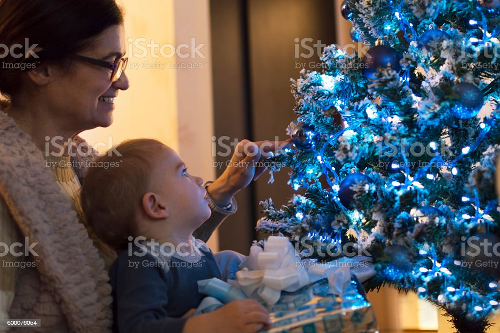 Christmas decoration with my grandmother stock photo