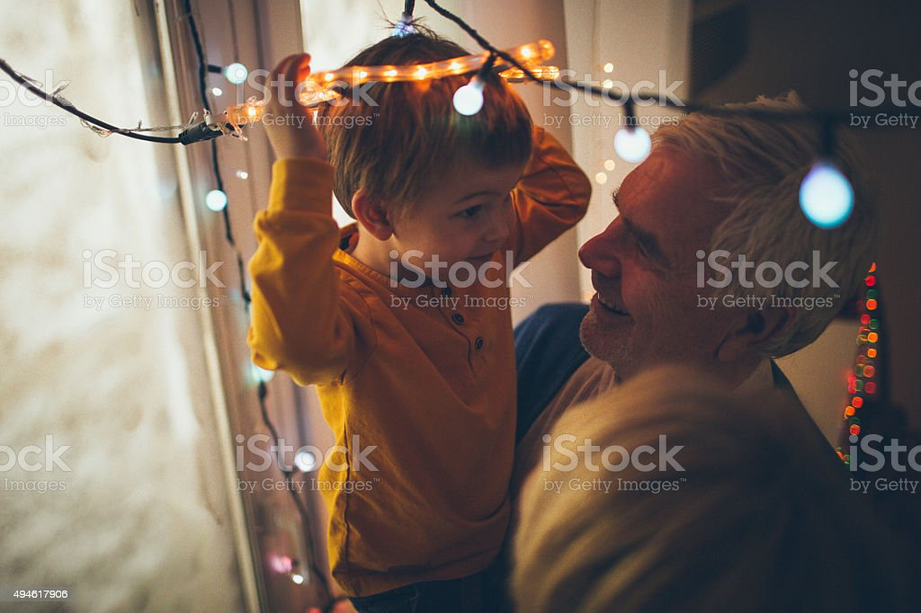 Christmas decoration with my grandparents stock photo