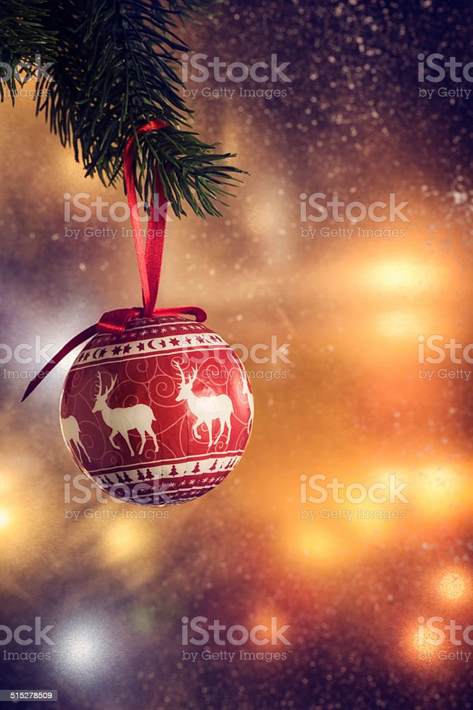 Christmas Decoration with Ornaments and Holiday Lights stock photo