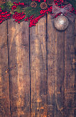 Christmas Decoration with Ornaments on Wooden Background