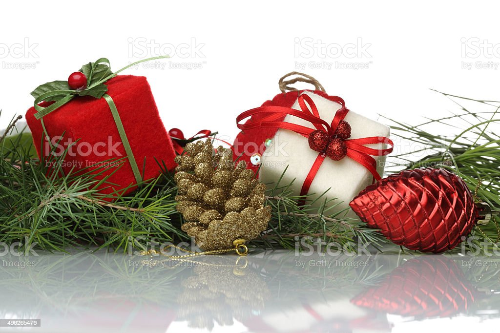 christmas decoration with pine bough stock photo