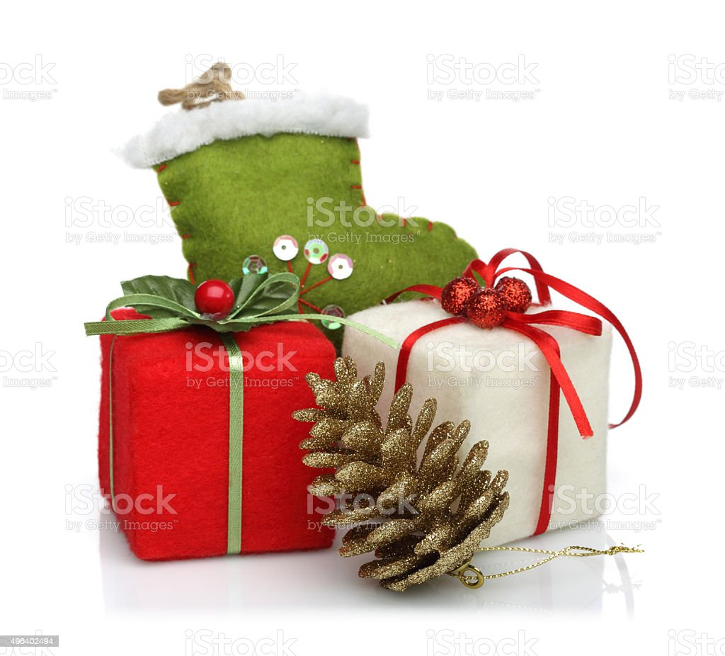 christmas decoration with pine cone stock photo