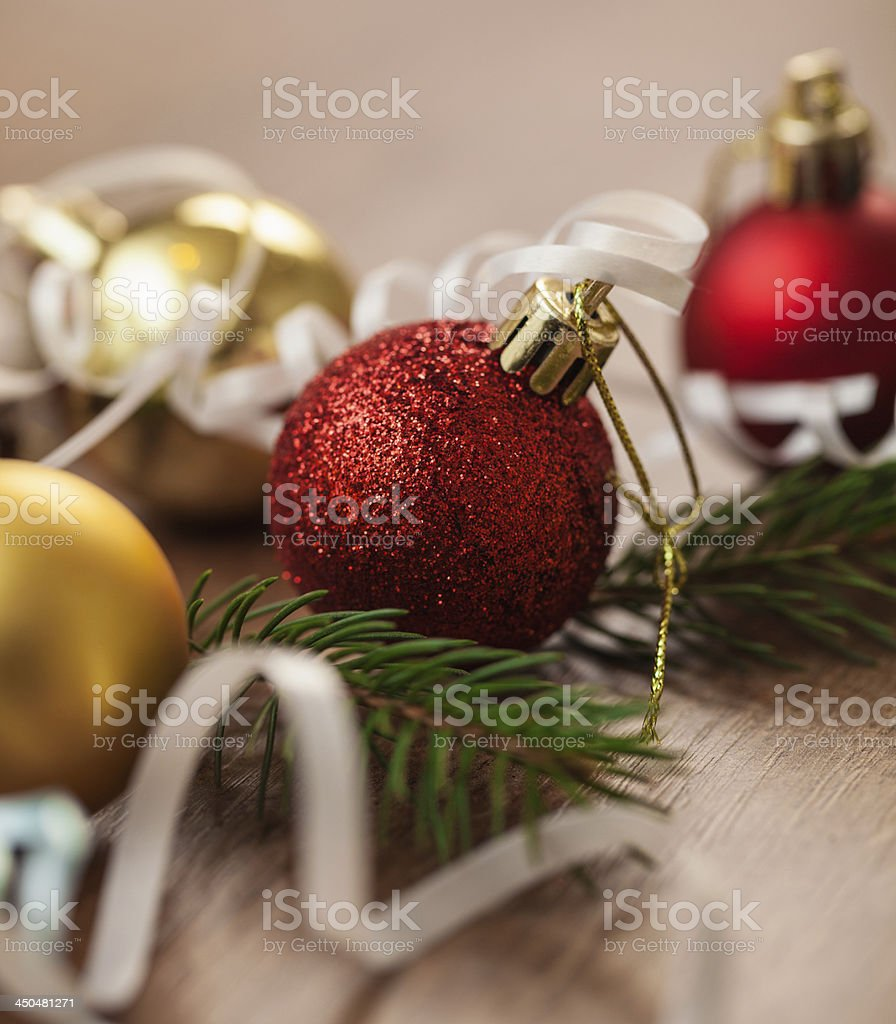 Christmas decoration with red and gold baubles royalty-free stock photo