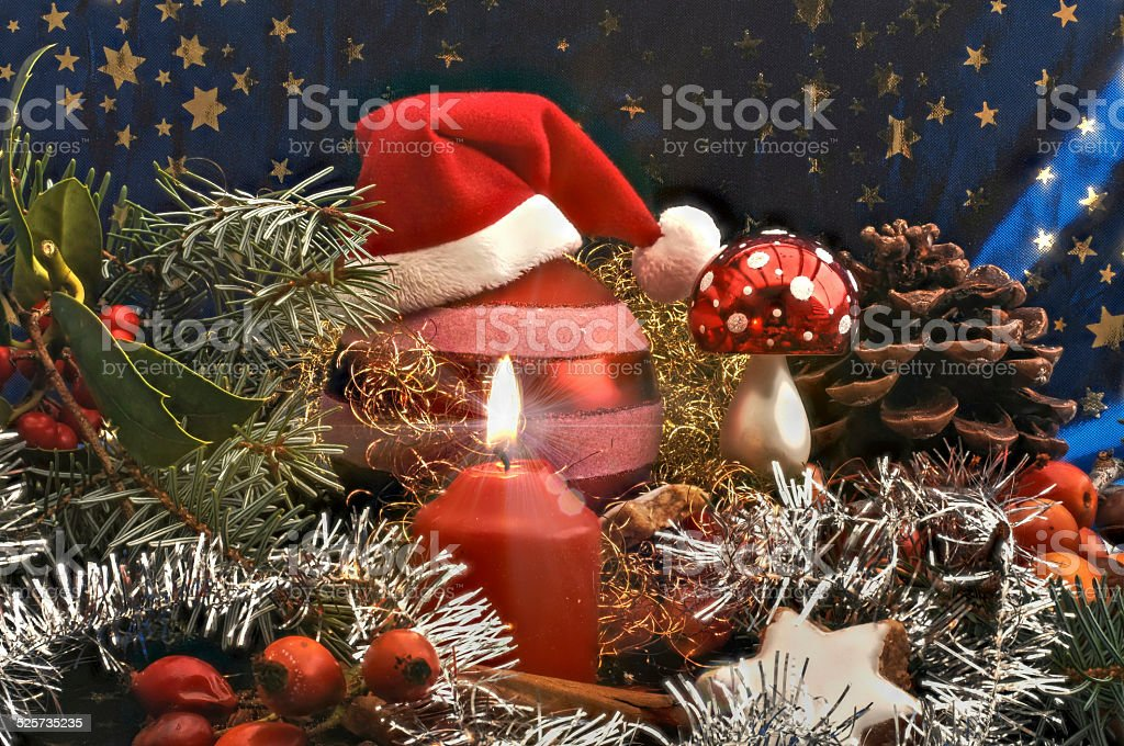 Christmas decoration with Santa Claus hat stock photo