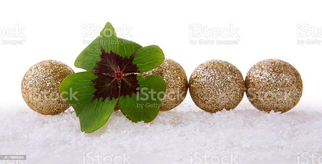 Christmas decoration with snow and cloverleaf. stock photo