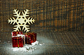 Christmas decoration with snow and gifts
