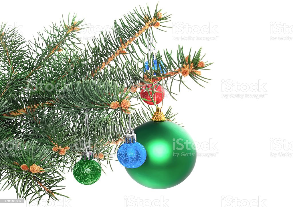 Christmas decoration-glass ball on fir branches. royalty-free stock photo