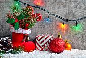 Christmas decoration.Red Santa's boot,garland,and Christmas balls.