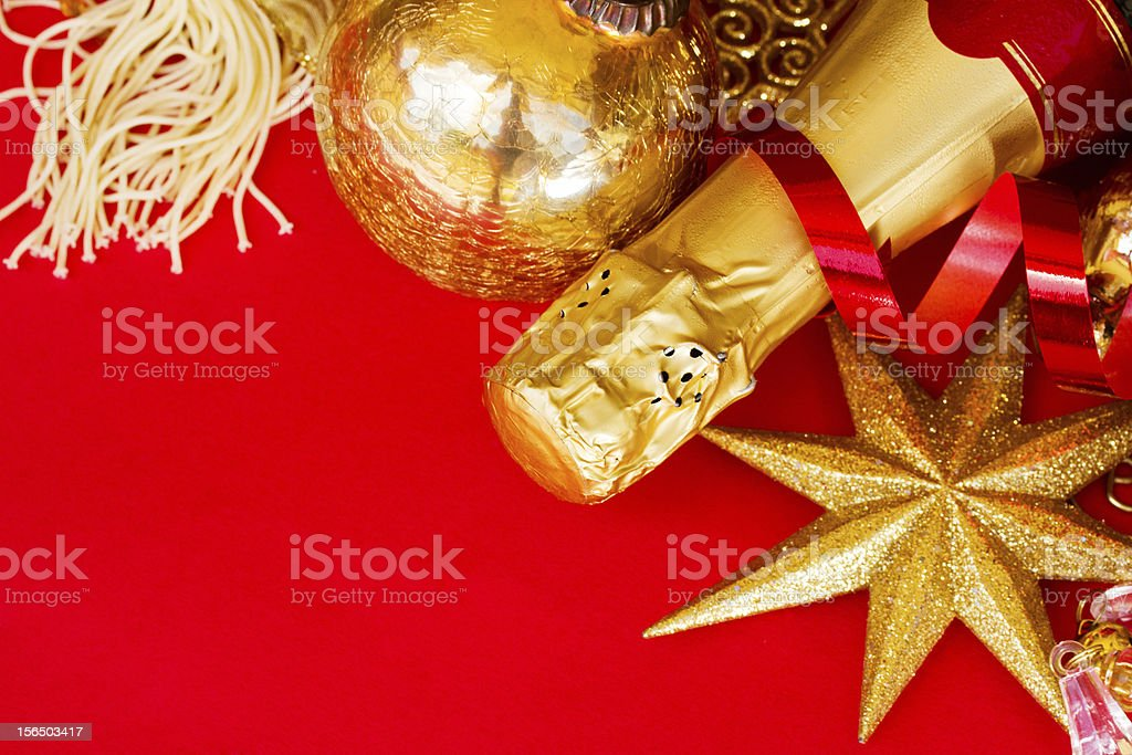 christmas  decorations and bottle of champagne royalty-free stock photo