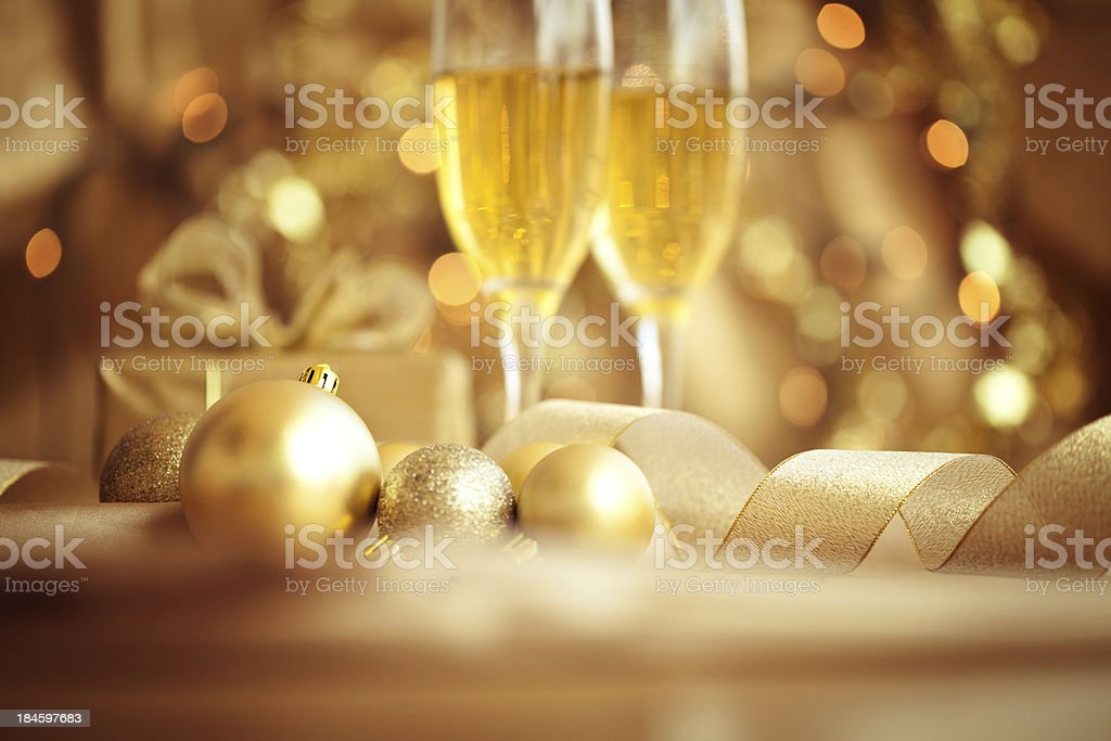 Christmas Decorations and champagne royalty-free stock photo