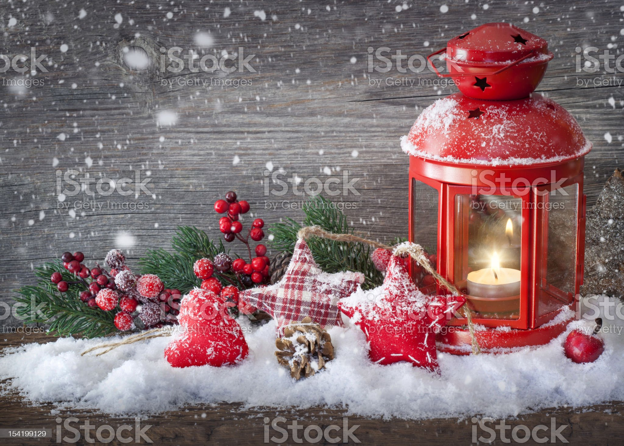 Christmas decorations and fake snow royalty-free stock photo
