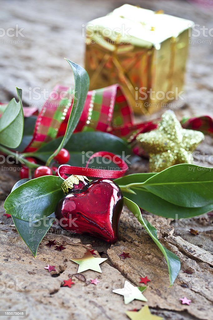 Christmas decorations and holly branches royalty-free stock photo