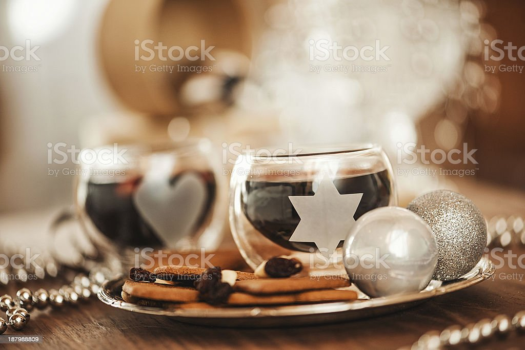 Christmas decorations and mulled wine royalty-free stock photo