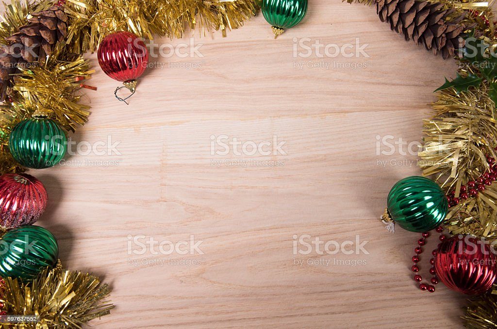 Christmas decorations and pine cones. Copy space stock photo
