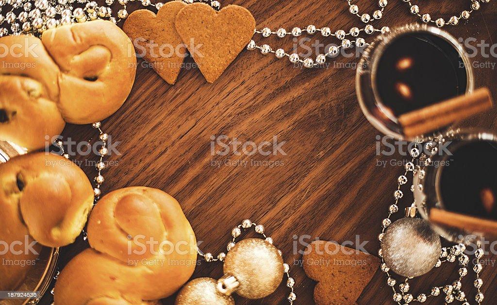 Christmas decorations and saffron bun royalty-free stock photo