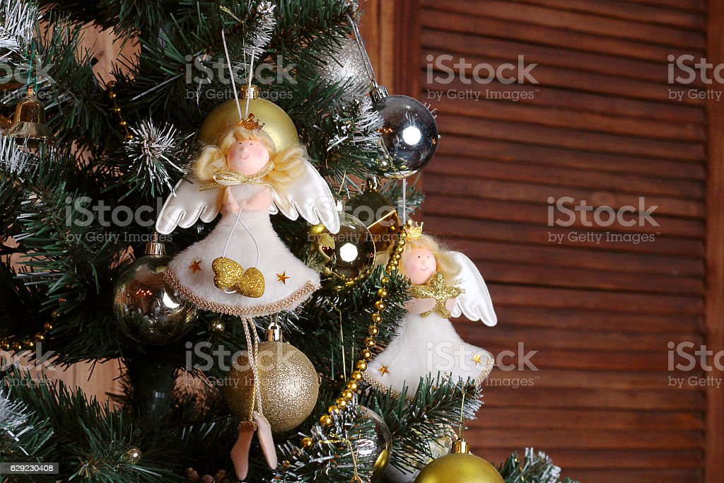 Christmas decorations, angels on the Christmas tree stock photo