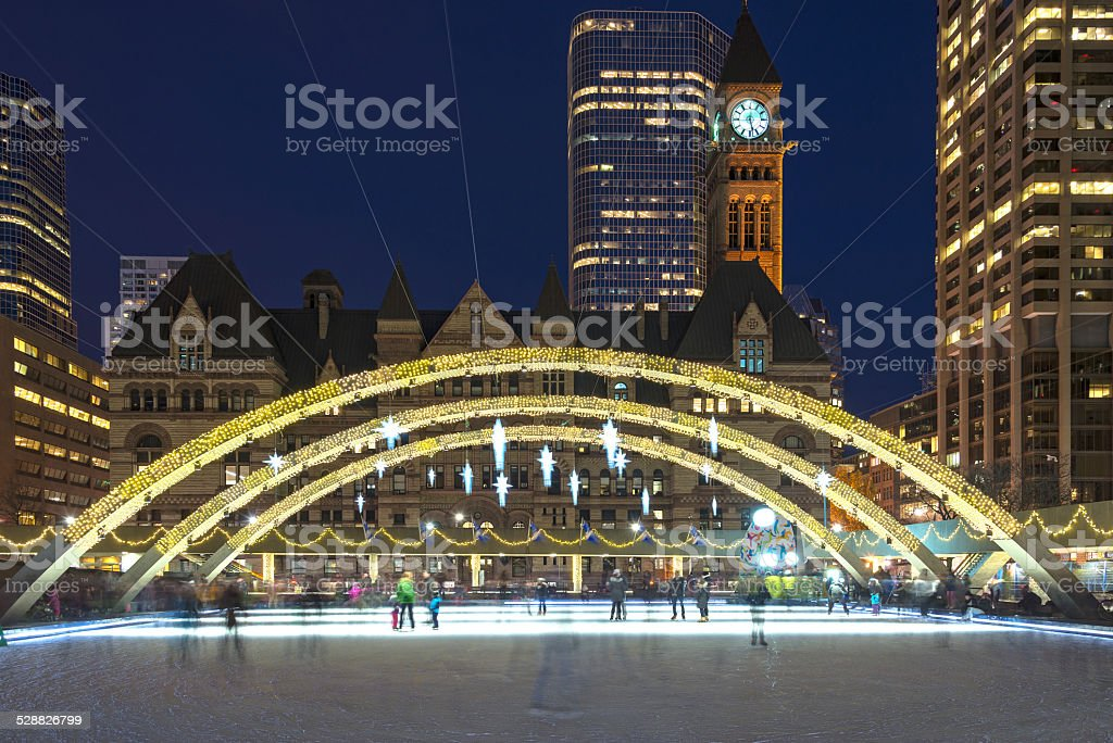 Christmas Decorations at Nathan Phillip Square in Toronto stock photo