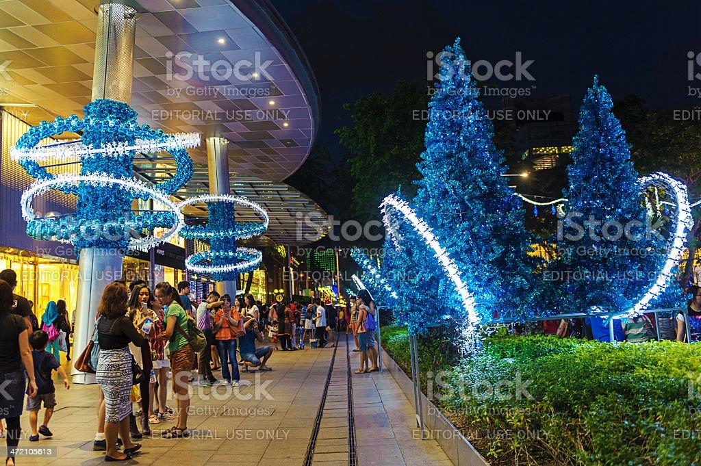 Christmas decorations at shopping mall stock photo