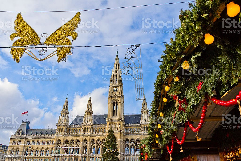 Christmas Decorations at the Vienna City Hall royalty-free stock photo