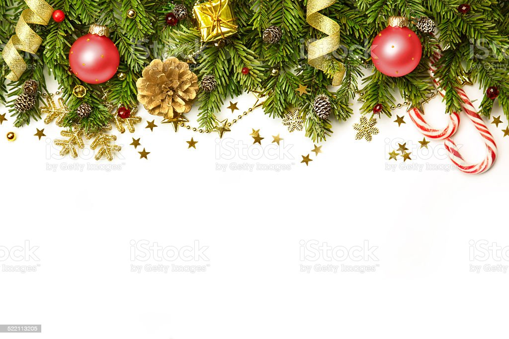 Christmas Decorations border  isolated on white background stock photo