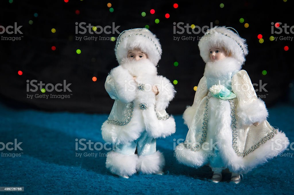 Christmas decorations boy and girl stock photo